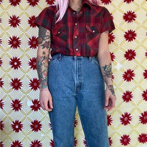 Vintage reworked cropped western plaid button up s